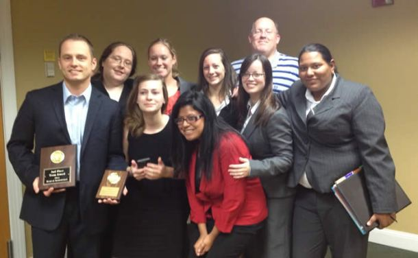 Fall 2012 NWMO 2nd place, Ben Marble Attorney award, with coach D. Moorehead