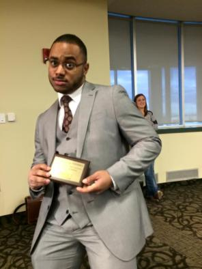 Broderick Hayes with hardware, spring 2015.
