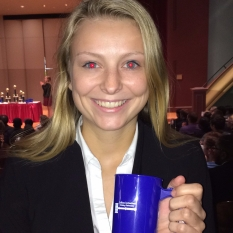 Madalyn Wurst with award at Drake, fall 2016