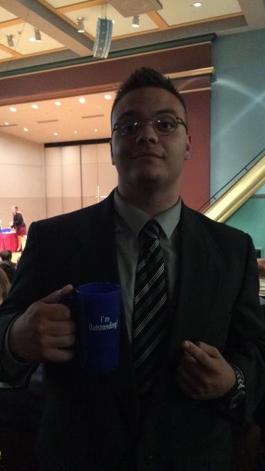 Nicholas Hutsell with award fall 2016 at Drake