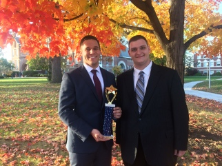 Captains Luke and Zach with Drake trophy, fall 2016