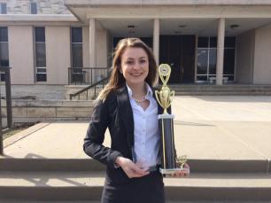 Madalyn Wurst, spring 2017 at AMTA Regional with team award and individual award