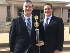 2017 captains Luke and Zach with team trophy at AMTA Regional in Topeka, KS