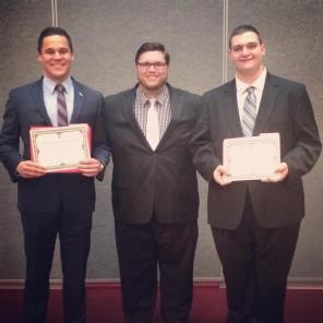 Spring 2016 Scholarship award (Luke Hawley, Coach A. Sommer, Zachary Sherwood)