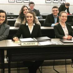 "2019 Plaintiff's Counsel Table ""Lady Justice"""